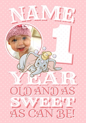 Dumbo Age 1 Birthday Card Girl