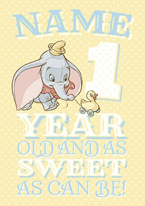 Dumbo Age 1 Birthday Card
