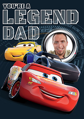 Cars 3 Legend Dad Photo Birthday Card