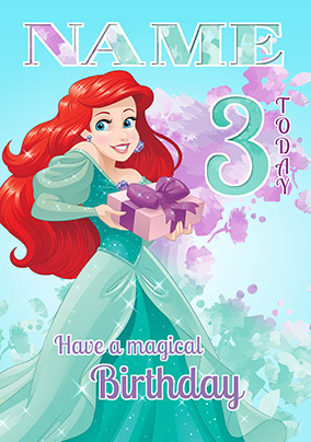 Ariel Age 3 Birthday Card