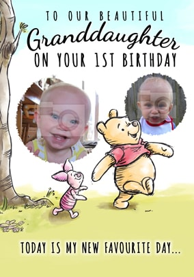 Pooh First Birthday Photo Card Grandaughter