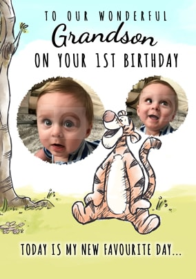 Tigger First Birthday Photo Card Grandson NO Preview Image Is Not Found