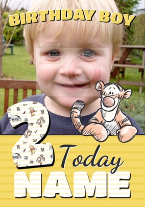 Age 2 Tigger Photo Birthday Card