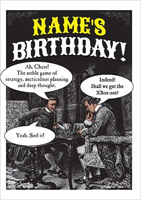 Chess vs. the Xbox Humorous Birthday Card