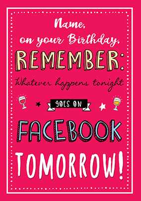 Facebook Tomorrow Personalised Birthday Card