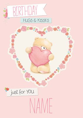 Hugs and Kisses Forever Friends Birthday Card