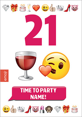 Emoji - Birthday Card 21st Birthday Time to Party