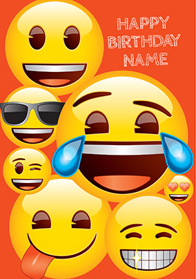 Emoji Birthday Personalised Card