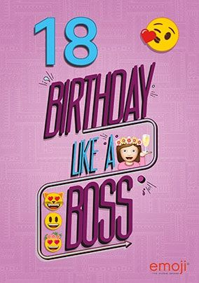 Emoji - 18th Birthday Boss Personalised Card