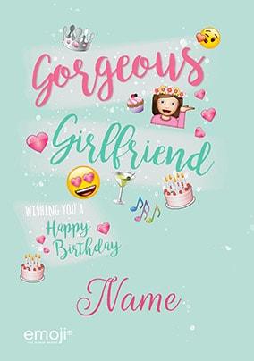 Emoji Gorgeous Girlfriend Personalised Card