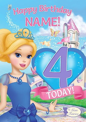 Gem Fairies 4th Birthday Personalised Card