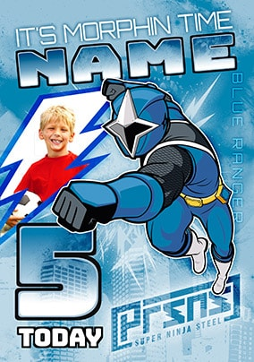 5 Today Blue Power Ranger Photo Card