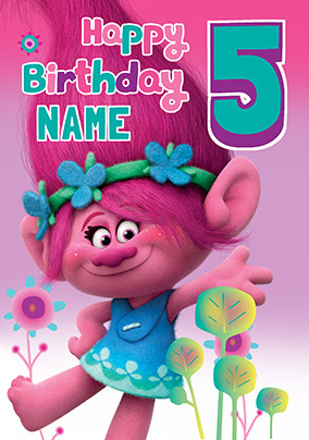 Trolls 5th Birthday Card