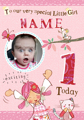 Emily Button - Little Girl First Birthday Photo Card