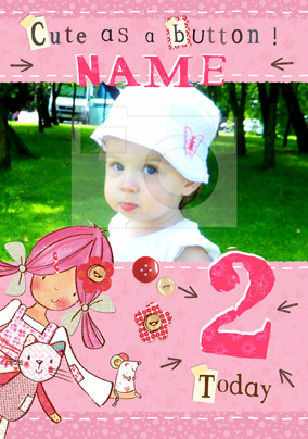 Emily Button - 2 Today Photo Birthday Card