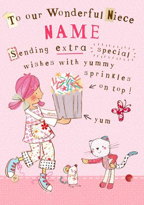 Emily Button - Wonderful Niece Personalised Card