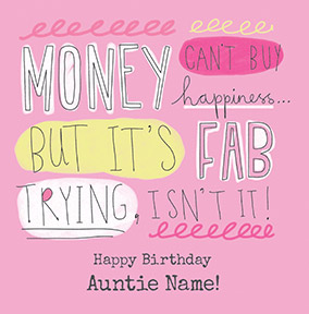 Auntie, Can't Buy Happiness Personalised Card