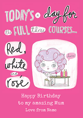 Full Three Courses Personalised Birthday Card