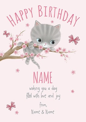 Little Meow - Love & Joy Personalised Birthday Card