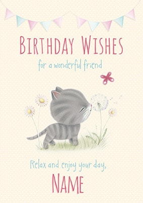 Little Meow - Wonderful Friend Personlised Birthday Card
