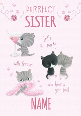 Little Meow - Wonderful Sister Personalised Birthday Card