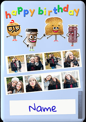 Funny Food Multi Photo Birthday Card