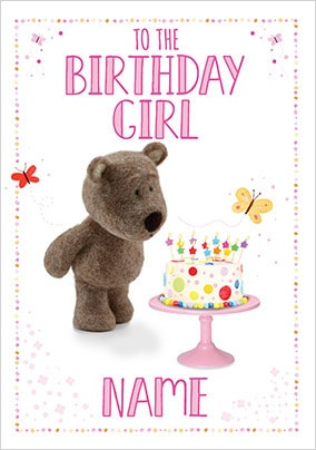Barley Bear Birthday Girl Personalised Card