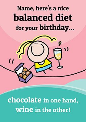 Balanced Diet Chocolate & Wine Birthday Card