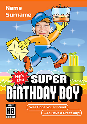 Fun and Games Photo Upload Birthday Card - Super Mario