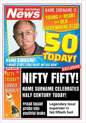 50th Birthday Photo Upload National News Card