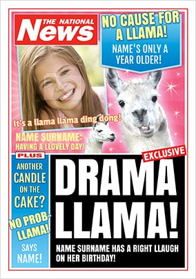 Drama Llama Photo Upload National News Birthday Card