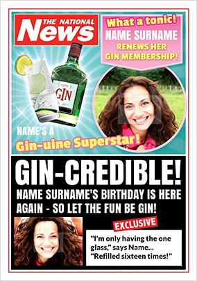 Gin-Credible Photo Upload National News Birthday Card