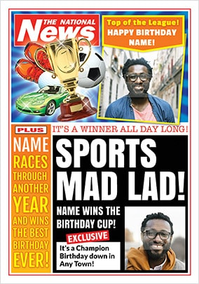 Sports Mad Lad Photo Upload National News Birthday Card
