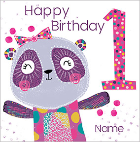 Girls Personalised Panda Birthday Card