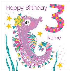 Girls Personalised Seahorse Birthday Card