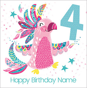 Girls Personalised Cockatoo Birthday Card