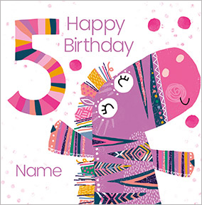 Girls Personalised Zebra Birthday Card