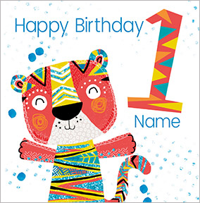 Boys Personalised Tiger Birthday Card