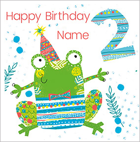 Boys Personalised Frog Birthday Card