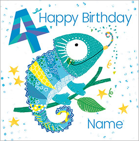 Boys Personalised Chameleon Birthday Card