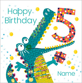 Boys Personalised Crocodile Birthday Card