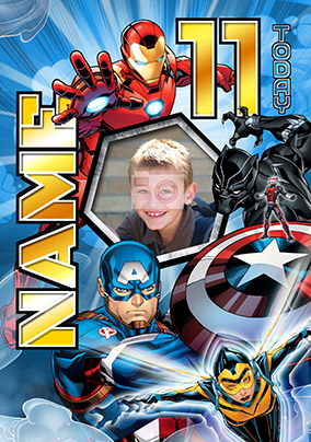 Avengers Age 11 Birthday Photo Card