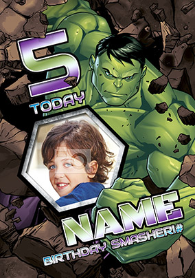 Hulk Age 5 Photo Birthday Card