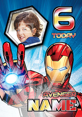 Iron Man Age 6 Photo Birthday Card