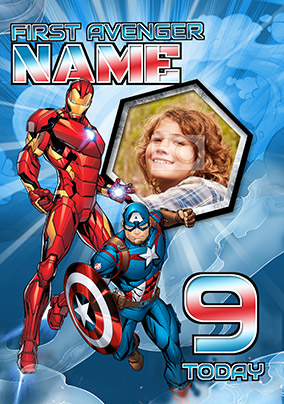 Avengers Age 9 Birthday Photo Card
