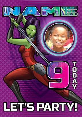 Guardians of the Galaxy Age 9 Photo Birthday Card