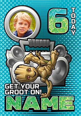Baby Groot Age 6 Photo Birthday Card