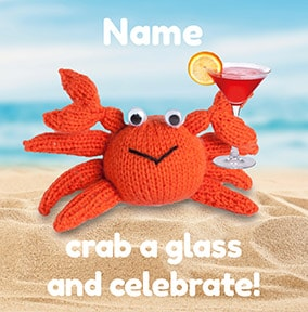 Crab A Glass Personalised Card