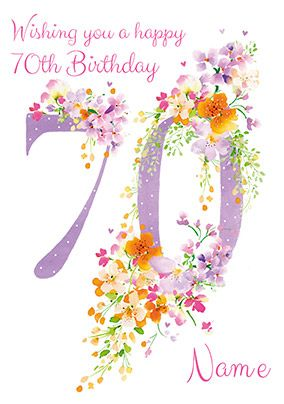 70th Birthday card - Floral adornment