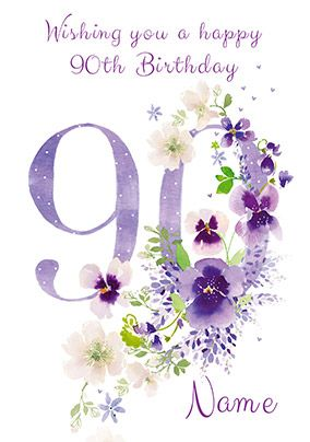 90th Birthday Card - floral adornment